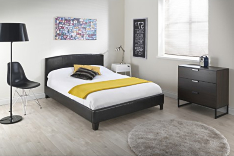 From £89 for a Monroe chocolate curved faux-leather bed frame, valid in single, double or king-sized from Wowcher Direct + DELIVERY INCLUDED