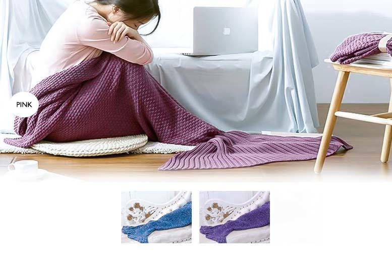 £14 instead of £56 (from Cheeky Box) for an adult's crocheted mermaid blanket - choose from three colours and save 75%