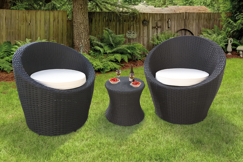 3pc KEPLIN Black Oval Rattan Garden Furniture Set (£179)