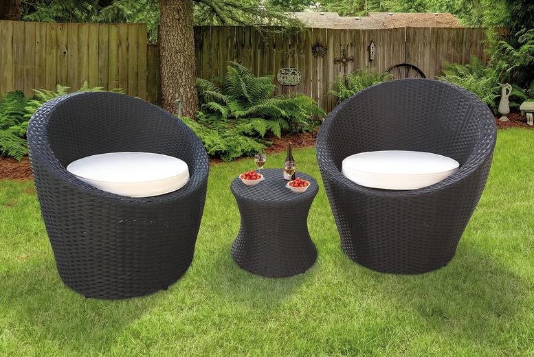 3pc KEPLIN Dark Grey Oval Rattan Garden Furniture Set (£179)