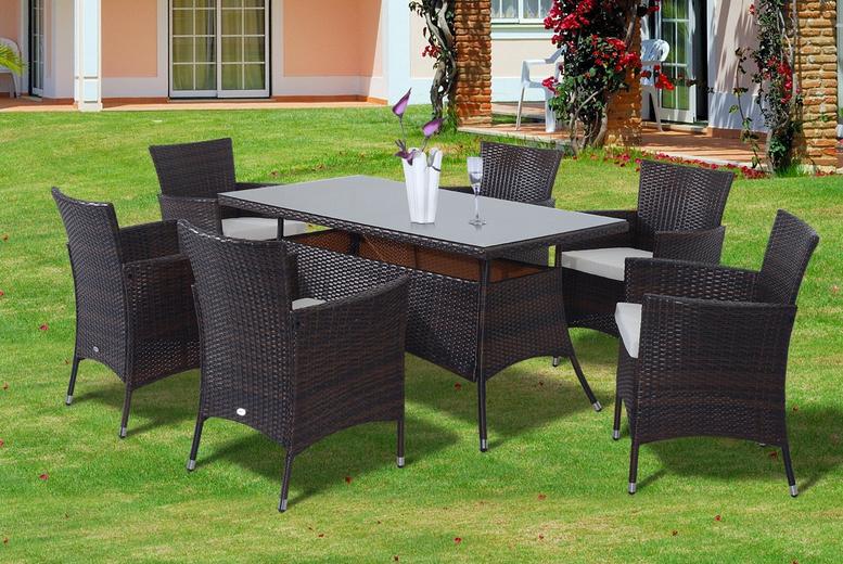 7pc Brown Rattan Dining Furniture Set (£479)