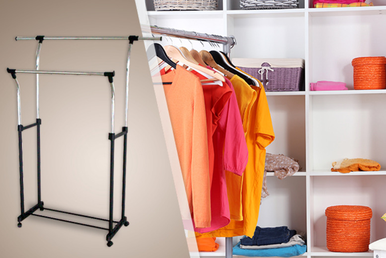 £9.99 (from Amir) for an adjustable stainless steel single clothes rail, £14 for a double clothes rail