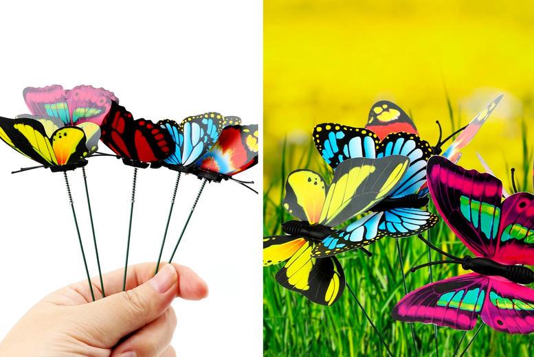 25 Colourful Butterfly Stake Decorations