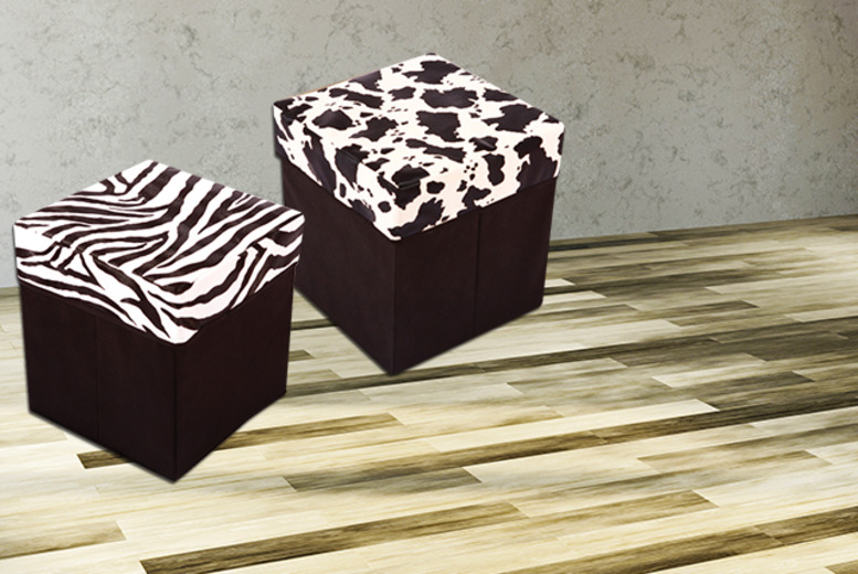 £12 instead of £59.99 (from Groundlevel) for a black, brown, pink, cow print or zebra print faux-leather ottoman storage cube - save 80%