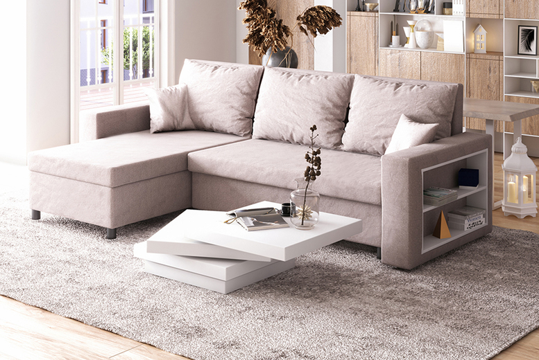 Merien Corner Sofa Bed & Shelf