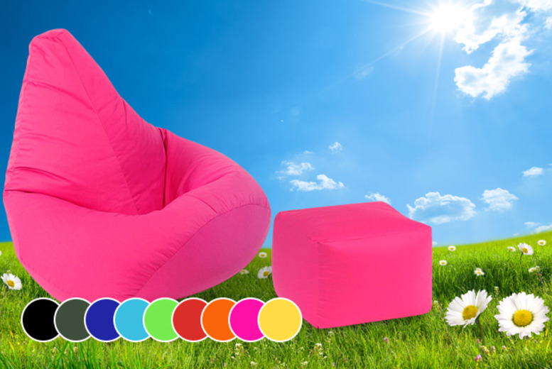 £29.99 instead of £99 (from UK Beanbags) for an outdoor highback beanbag with matching footstool in your choice of colours - save 70%