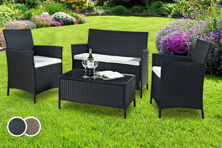£199 instead of £699.98 (from Groundlevel.co.uk) for a rattan outdoor coffee table and chair set in black or brown - save 72%