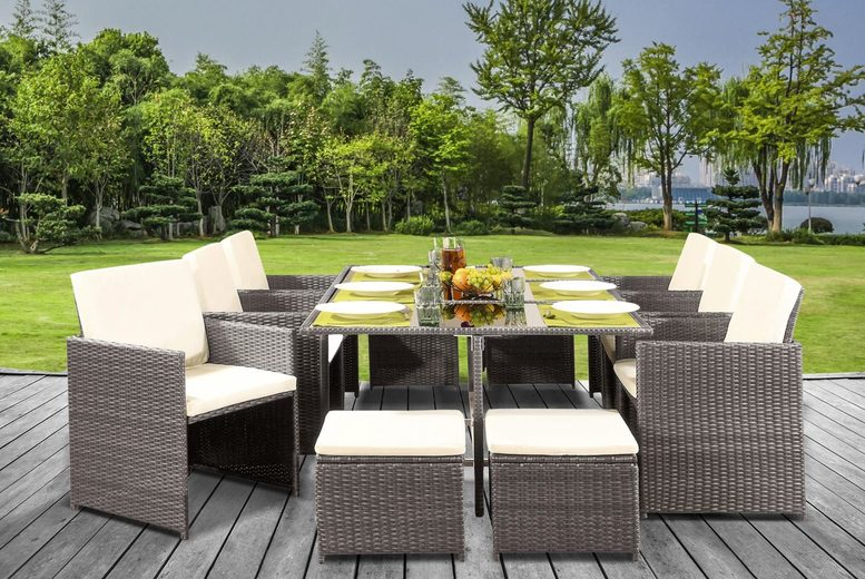 11pc Cube Rattan Dining Set with Optional Cover – 2 Colours! (£529)
