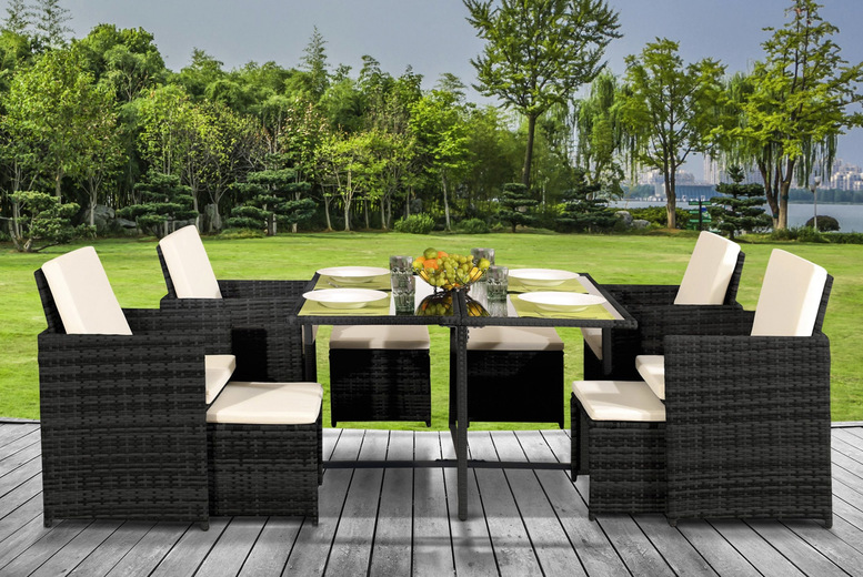 9pc Rattan Cube Dining Set w/Optional Cover – 3 Colours! (£399)
