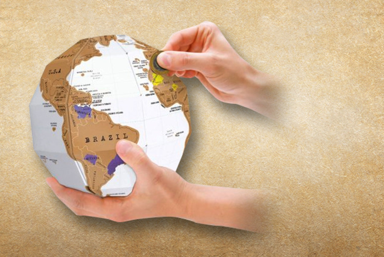 £11.99 instead of £19.95 (from Luckies of London) for a scratch map 3D globe - track your travels in a totally unique way and save 40%