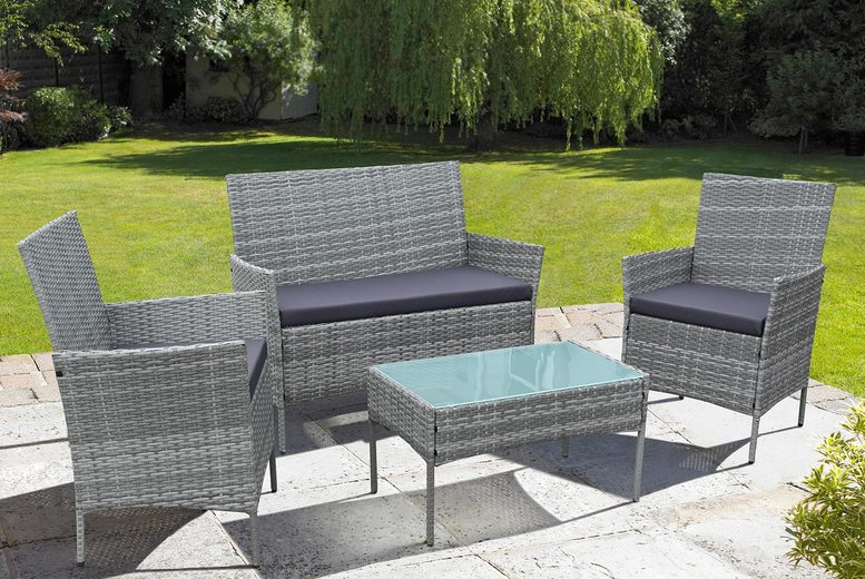 4pc Oakfield Rattan Garden Furniture Set – 2 Colours! (£159)