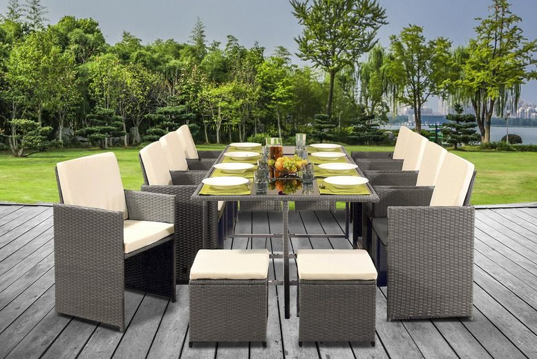 12 Seater Cube Rattan Dining Set – 5 Colours & Optional Cover! (£649)