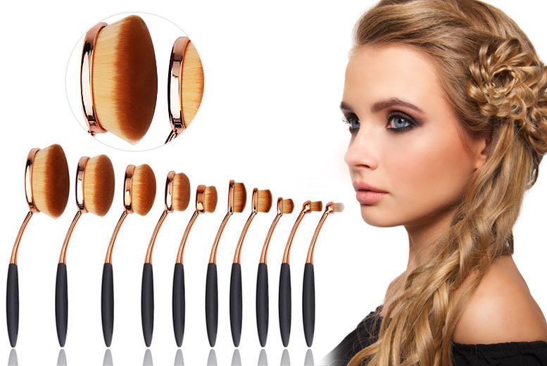 10pc paddle makeup brush set