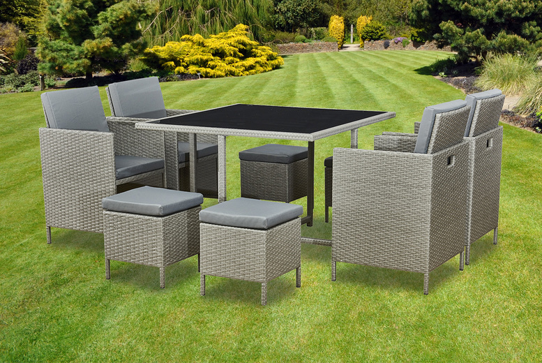 9pc Rattan Cube Garden Furniture Dining Set – 3 Colours! (£399)