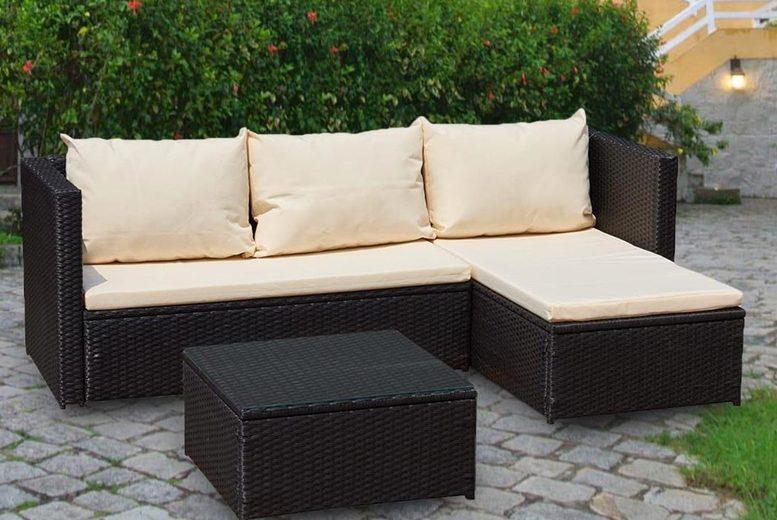 L-Shaped Corner Rattan Garden Furniture Set – 3 Colours! (£349)