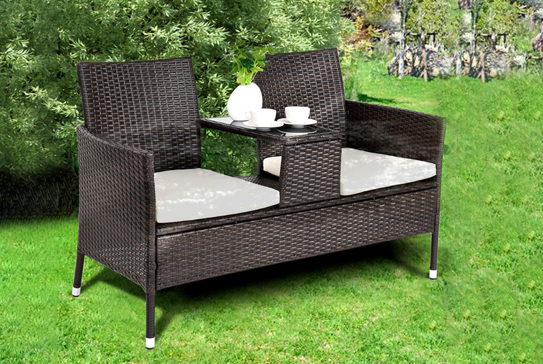 Rattan Double-Seater Garden Furniture Set With Middle Table (£229)