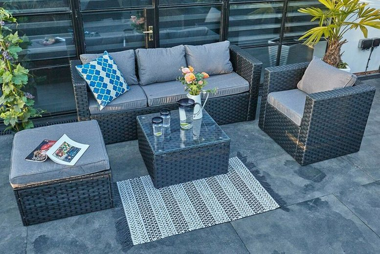 Monaco 5-Seater Rattan Garden Lounge Set & Cover Option – 2 Colours! (£569)