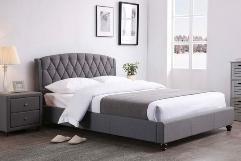 £119 instead of £219.99 (from Furniture Dealz) for a double Josephine grey fabric bed frame, £139 for a king-size – save up to 46%