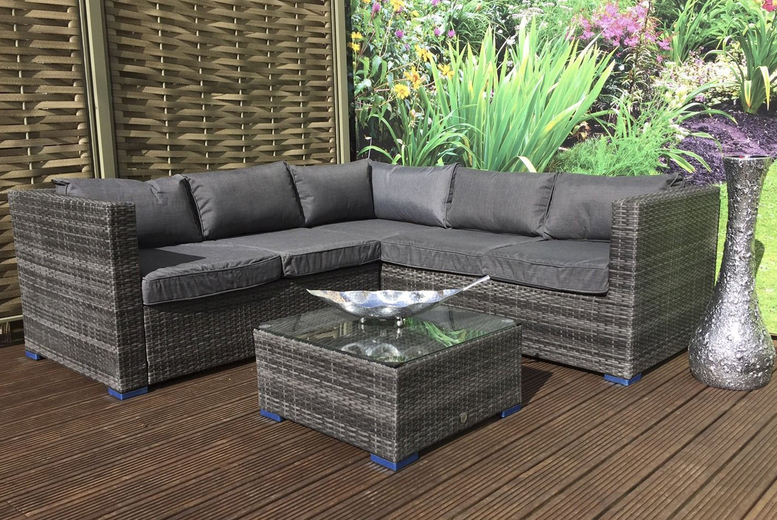 5-Seat Carter Corner Rattan Sofa Garden Furniture Set – 2 Colours! (£799)