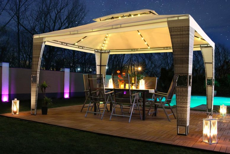 LED Royal Rattan Pavilion with Optional Side Wall – 6 Colours! (£299)