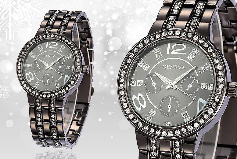 Black Crystal Geneva Watch