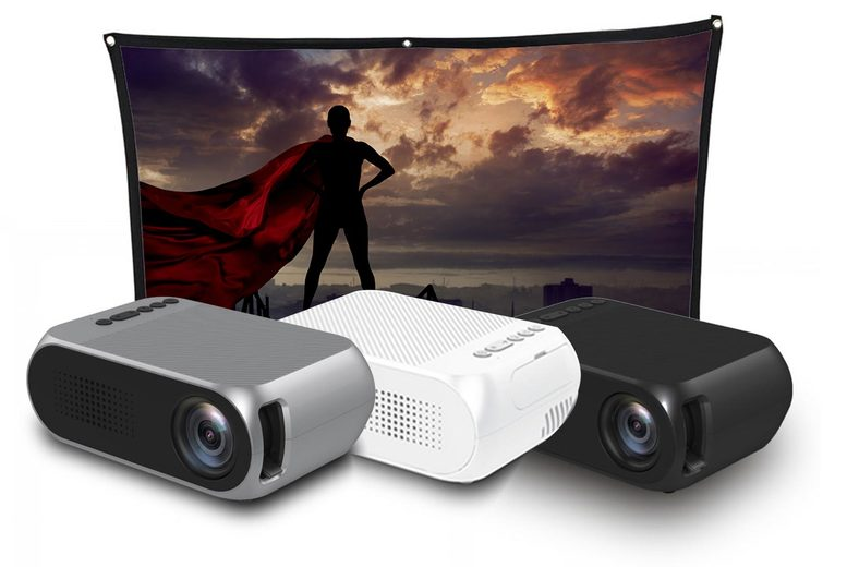 Image of 1080P Hd Mini Led Projector | Black | 84in | Living Social