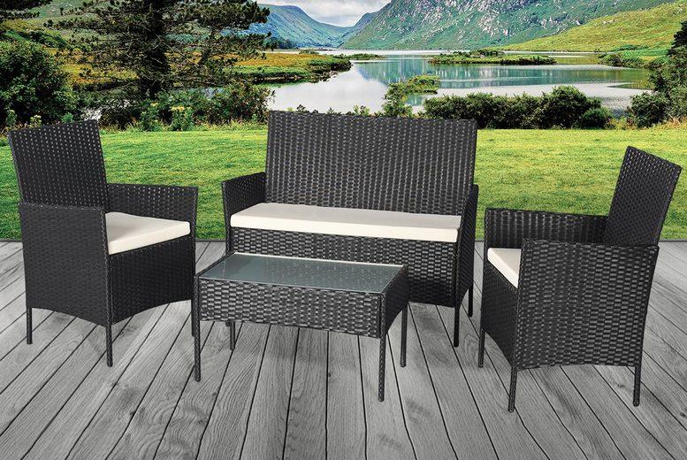 4pc Rattan Garden Furniture Set – 3 Colours! (£169)