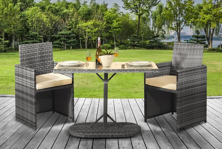 2-Seat Cuba Garden Rattan Bistro Set & Optional Cover – 2 Colours! (£169)