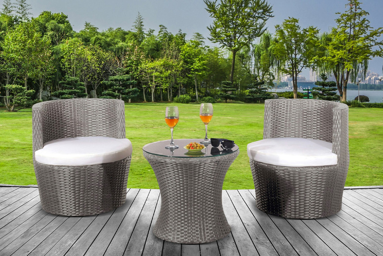 2-Seater Aruba Balcony Rattan Garden Furniture Set – 3 Colours! (£199)