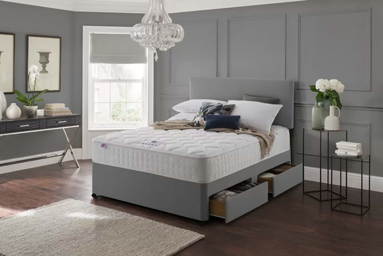From £49 (from Dining Tables) for a grey designer bed base and headboard – choose from six sizes plus storage options and save up to 82%