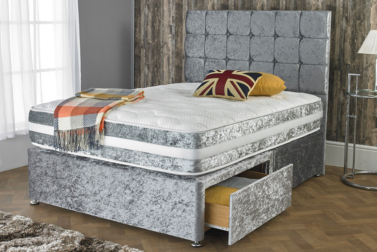From £59 instead of £270 (from Dining Tables) for a small single crushed velvet designer bed base and headboard – save up to 78%