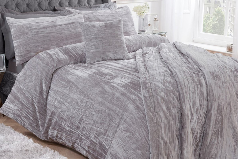 From £16.99 (from Five Minutes More) for a Sleepdown crinkle velvet bedding set – choose from three colours