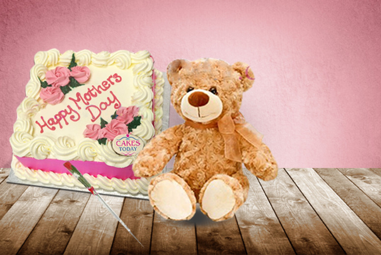 £24 instead of up to £54.97 for a Mother's Day package inc. a handmade cake delivery, a teddy and a silk rose from Cakes Today, London - save up to 56%
