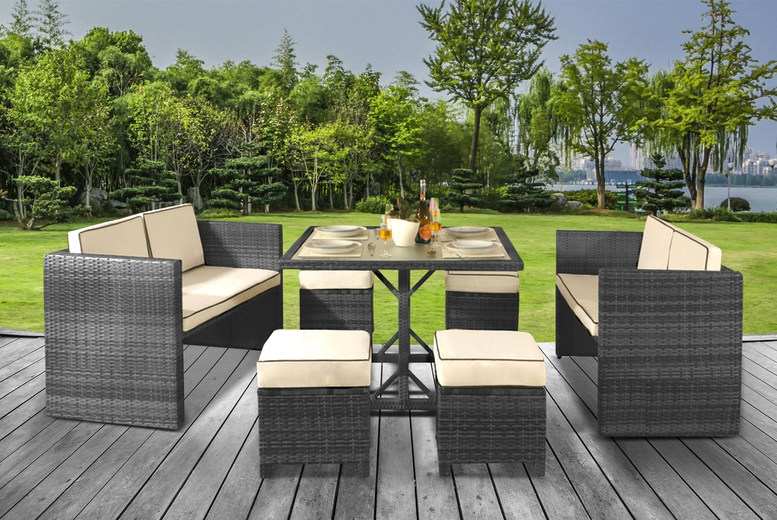 8-Seat Haiti Rattan Garden Furniture Set – 3 Colours & Cover Option (£419)