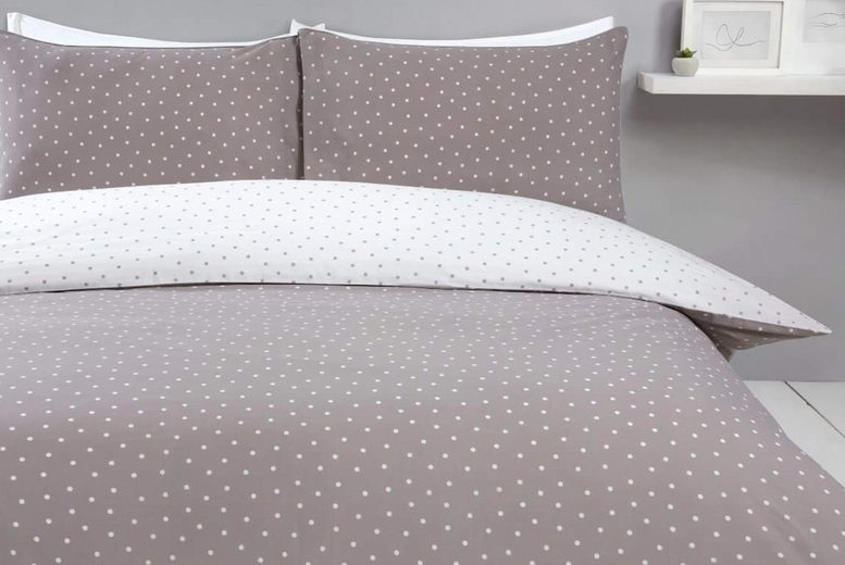 £8.99 for a Sleepdown single polka dot duvet cover set, £13.99 for a double, £16.99 for a king or £17.99 for a super king – get some new bedding