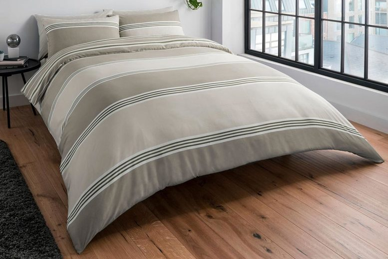 £8.99 for a single banded stripe duvet cover set, £12.99 for a double set, £14.99 for a king set or £15.99 for a super-king set from Five Minutes More!