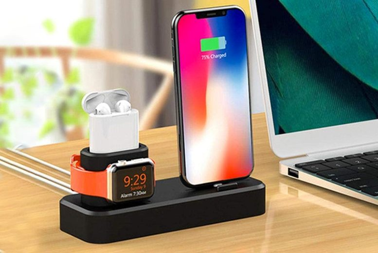 Image of 3-In-1 Smartphone Compatible Charging Dock | Blue | Living Social