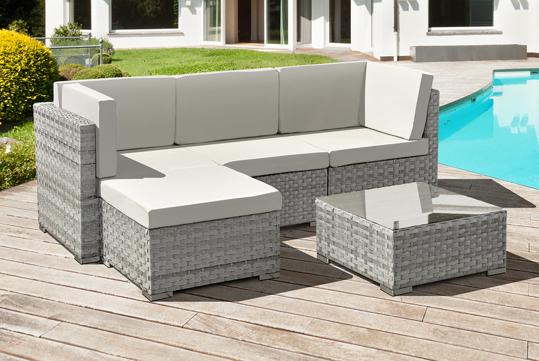 4-Seater Rattan Chaise Lounge Set – Dove Grey or Ocean Grey! (£399)