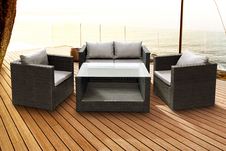 Rattan 4-Seater Garden Set in Charcoal with Grey Cushions (£379)