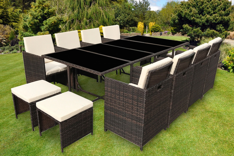Rattan 12-Seater Garden Furniture Set – Black or Brown! (£649)