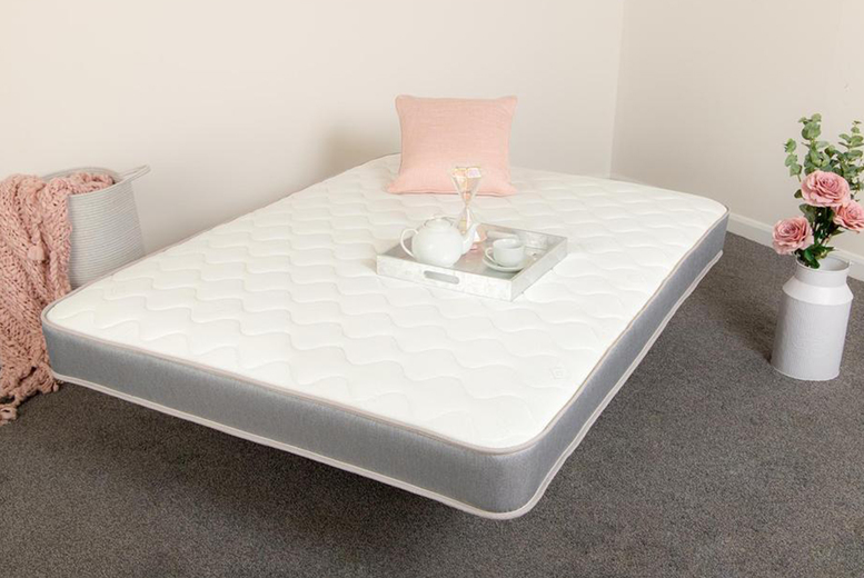 From £35 instead of £119.99 for a grey sprung seven core layer memory foam mattress in small single, single, small double, double or king from Desire Beds – save up to 71%