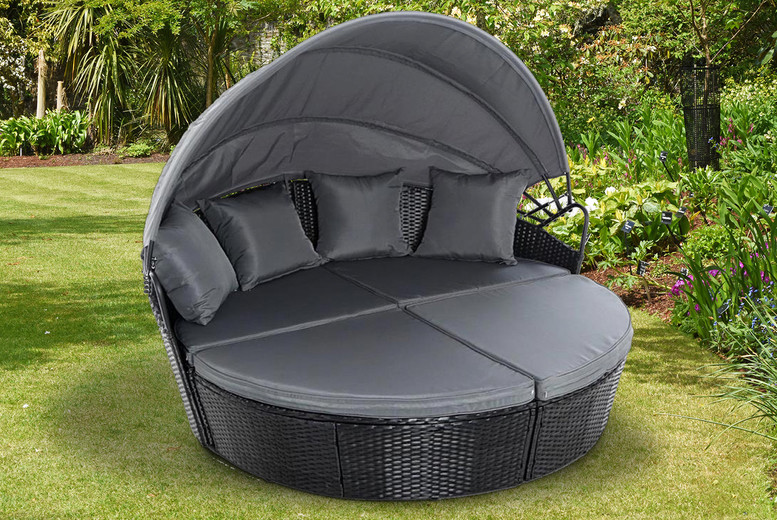 Outdoor Rattan Bali Day Bed – Grey, Black & Brown (£399)