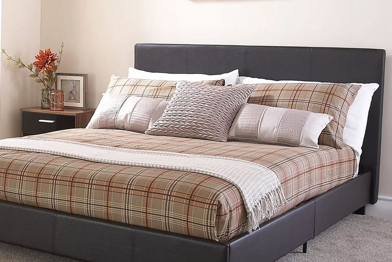 £89 for a 5ft faux leather bed frame or from £199 for a bed frame and mattress from FTA Furnishing!