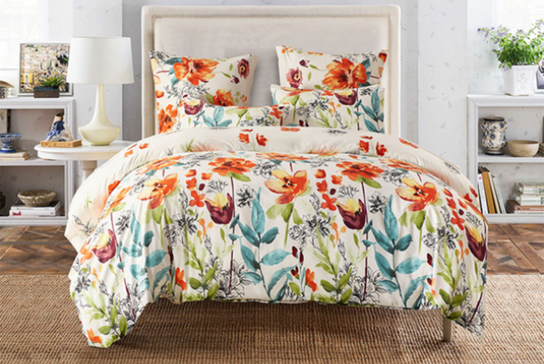 From £22 for a twin floral bedding set, £24.99 for a queen set or £27.99 for a king set, choose from four styles from Backtogoo