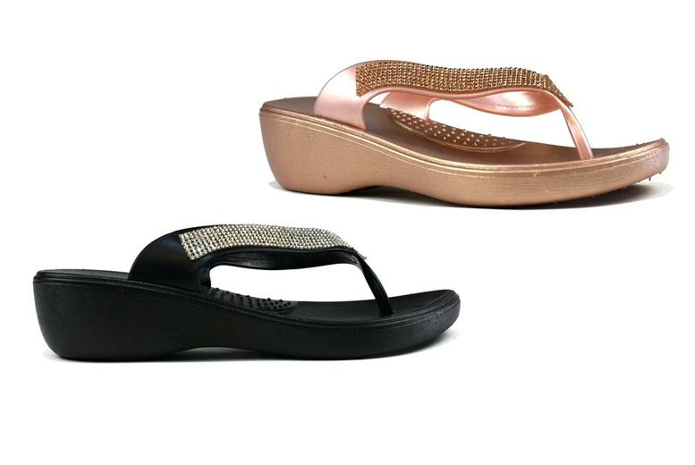 rose gold sparkly flip flops