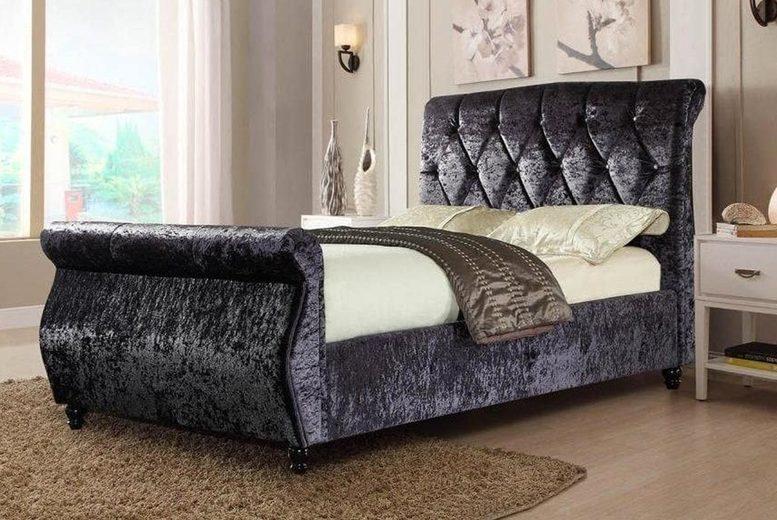 £249 for a crushed velvet bed frame in black, champagne or grey – Furniture Instore!