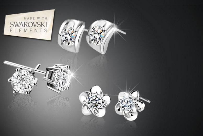 £10 instead of £69.99 (from Simply Jewellery) for a set of 3 silver-plated stud earrings with Swarovski Elements - save 86%