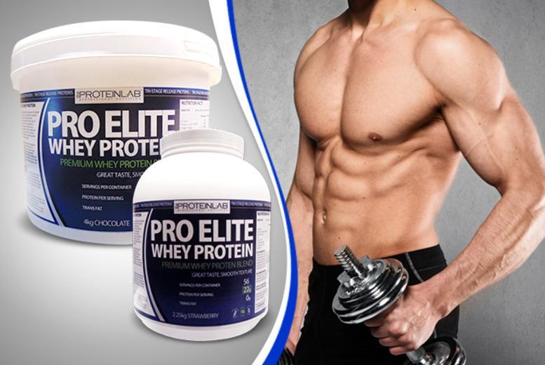 £26.99 (from The Protein Lab) for a 56-serving tub of Pro Elite Whey Protein, or £42.99 for a 100-serving tub - save up to 66%
