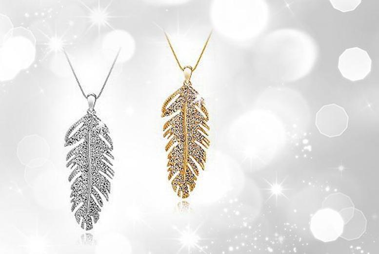 £8 instead of £69 (from Moonshine Boutique) for a gold-plated or white gold-plated crystal feather pendant - save 88%