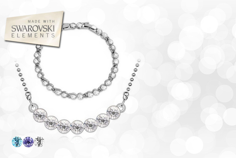 £12 instead of £59.99 (from Marcus Emporium) for a Swarovski Elements tennis bracelet and necklace set - save a sparkling 80%